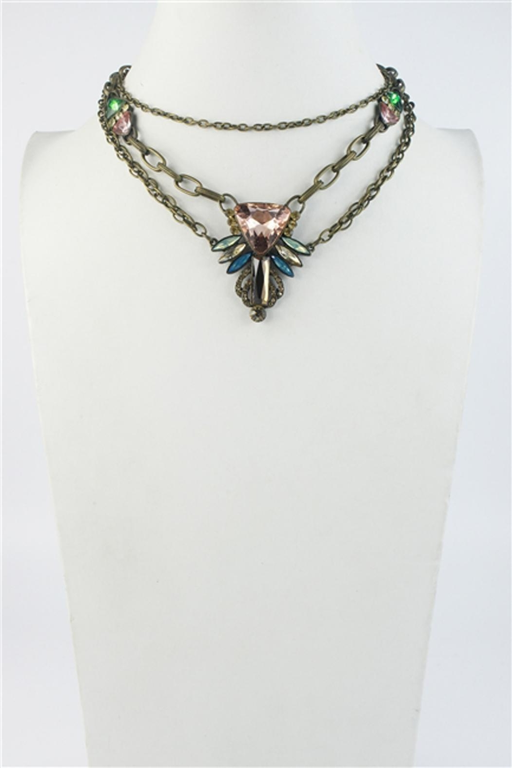Sweet Romance Pink-Turquoise Crystal Necklace - Front Cropped Image