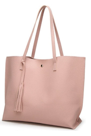 Mimi's Gift Gallery Pink Vegan Leather Tote - Front cropped