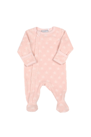 Coccoli Pink Velour Star Zipper Footie - Product Mini Image