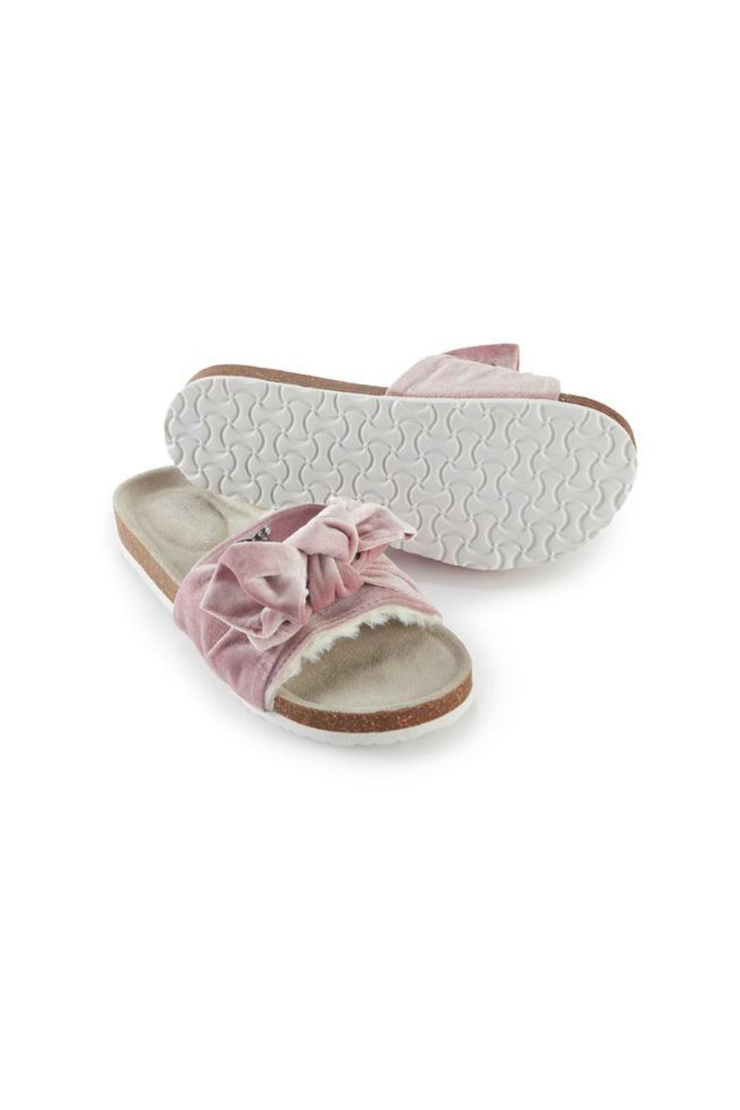 Pretty You London Pink Velourbow Sandal - Side Cropped Image