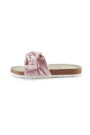 Pretty You London Pink Velourbow Sandal - Front cropped