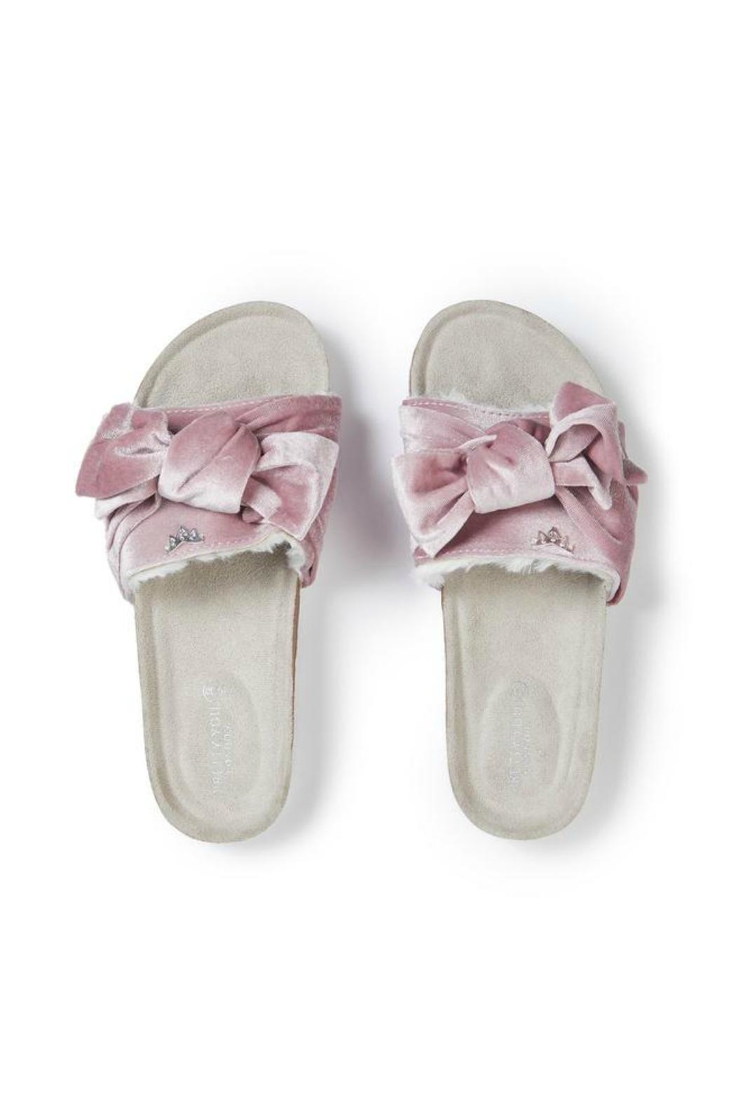 Pretty You London Pink Velourbow Sandal - Front Full Image