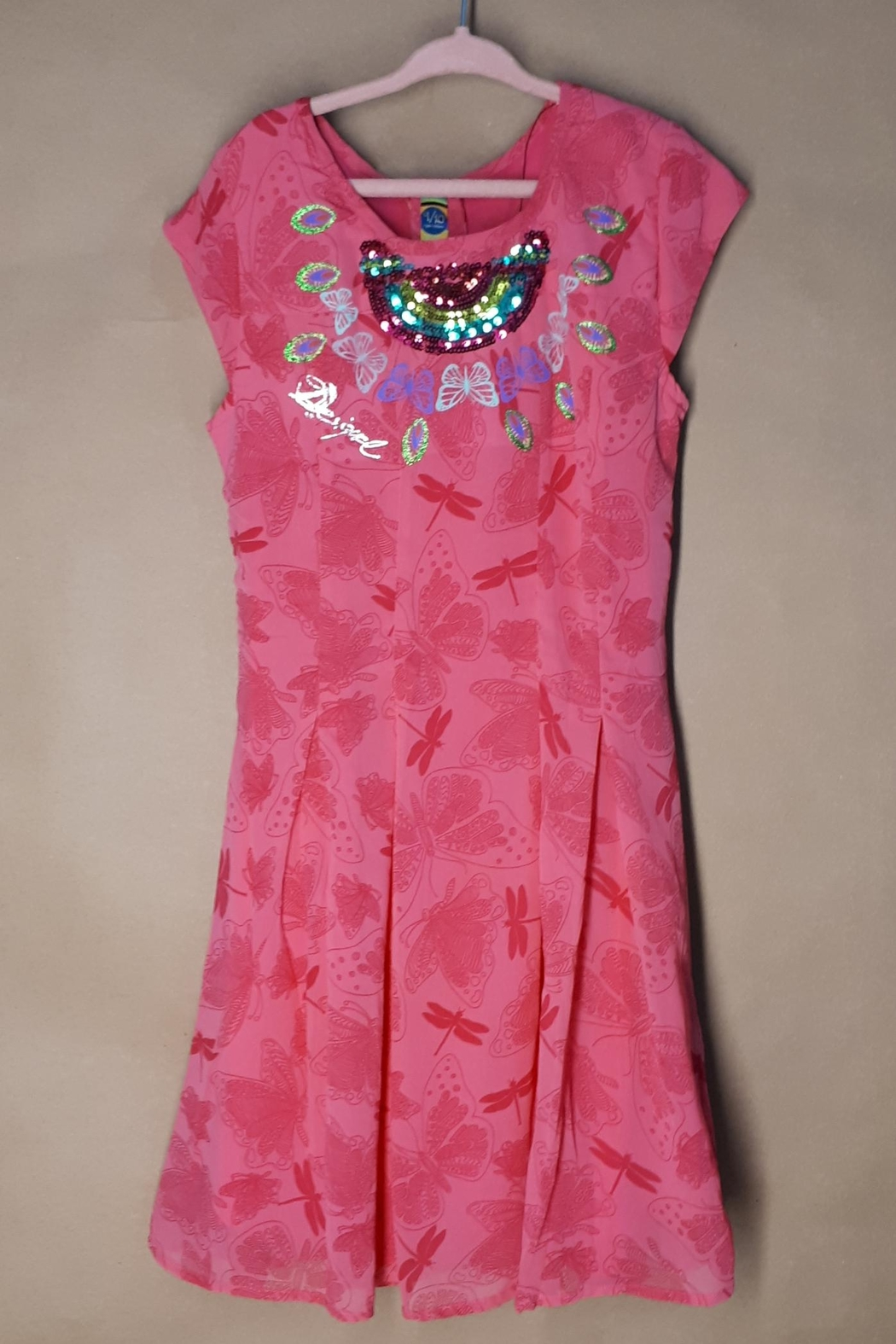 DESIGUAL Pink Victoria Dress - Front Cropped Image