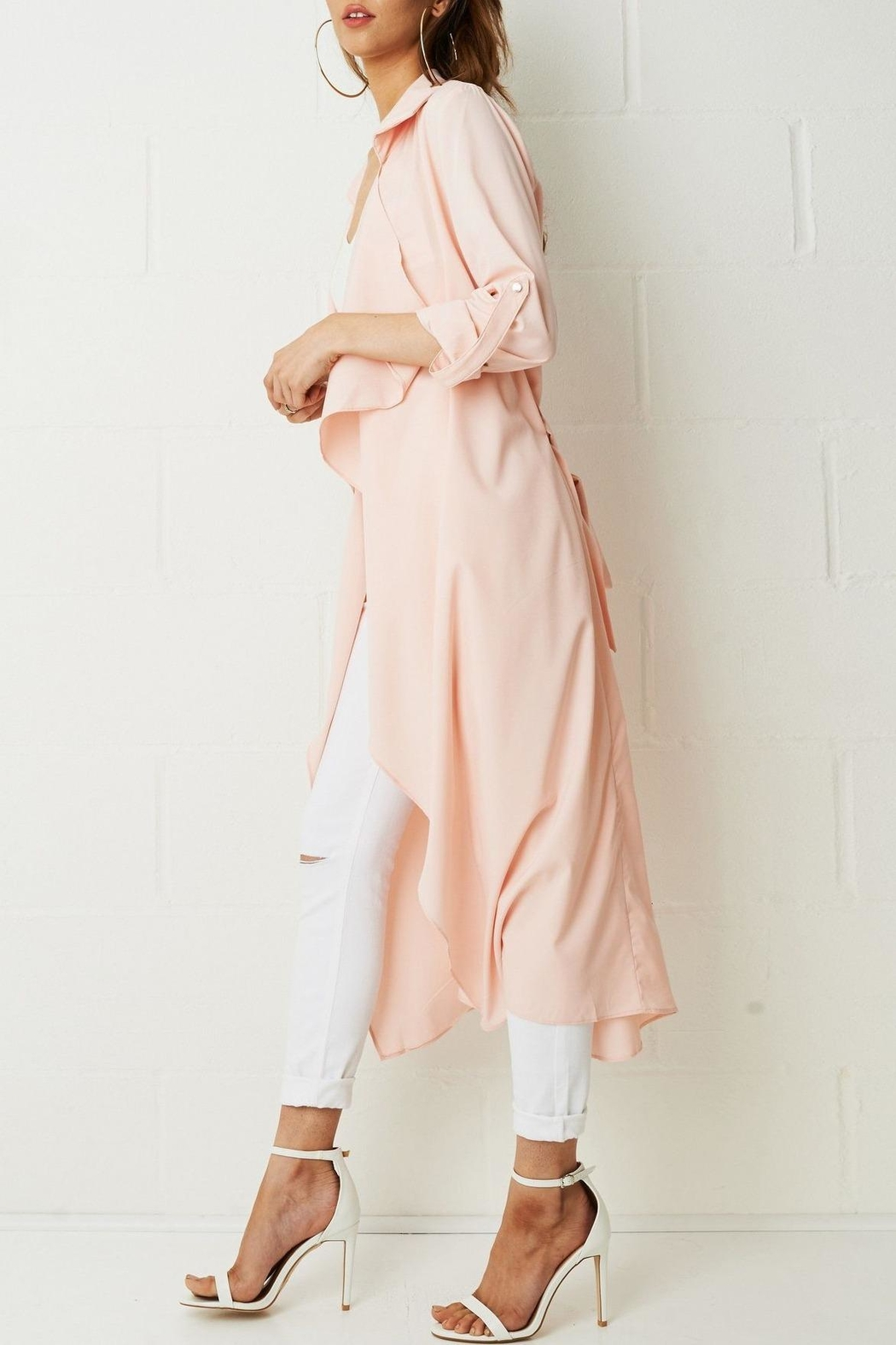 frontrow Pink Waterfall Coat - Side Cropped Image