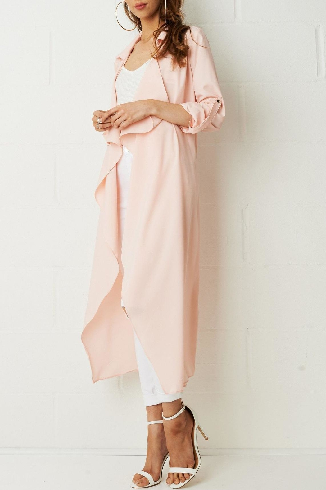 frontrow Pink Waterfall Coat - Front Full Image