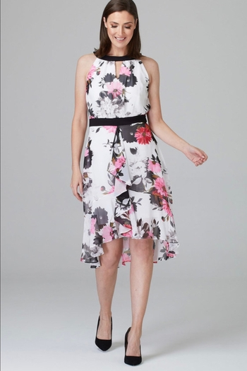 Joseph Ribkoff  pink/white/black floral print dress from Albany by DeAnna's — Shoptiques