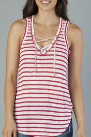 Another Love Pink & White Stripe Lace Up Tank - Product Mini Image