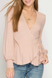She + Sky Pink Wrap Top - Product Mini Image