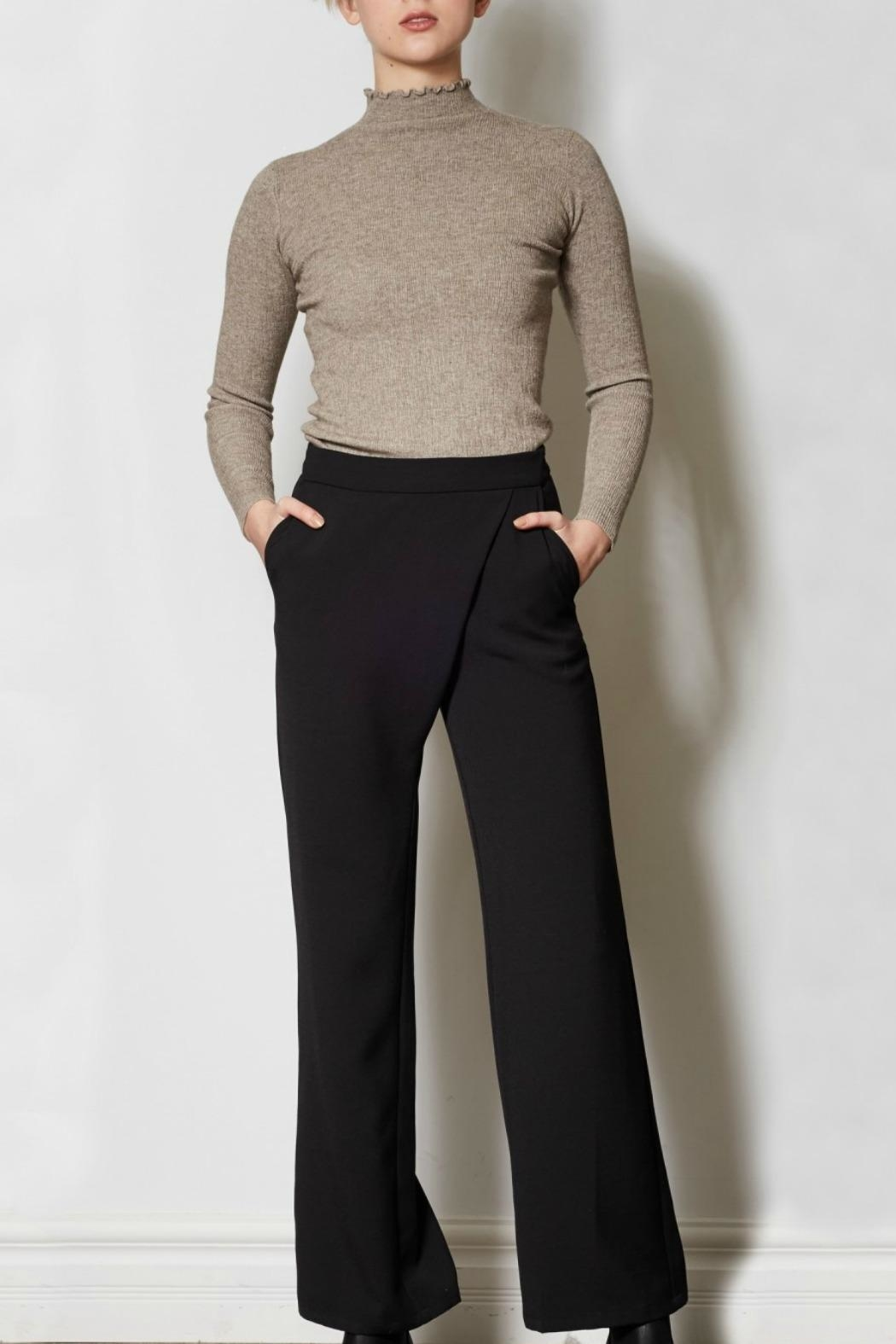 Pink Martini Black Dress Pants - Front Cropped Image