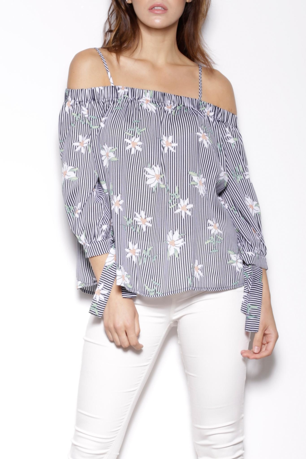 Pink Martini Flowers Stripes Blouse - Main Image