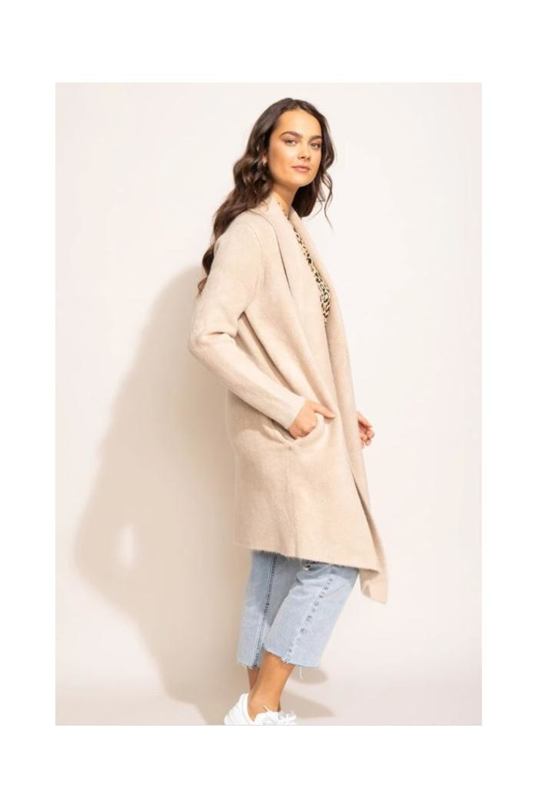 Pink Martini Stockport Jacket In Beige - Front Full Image