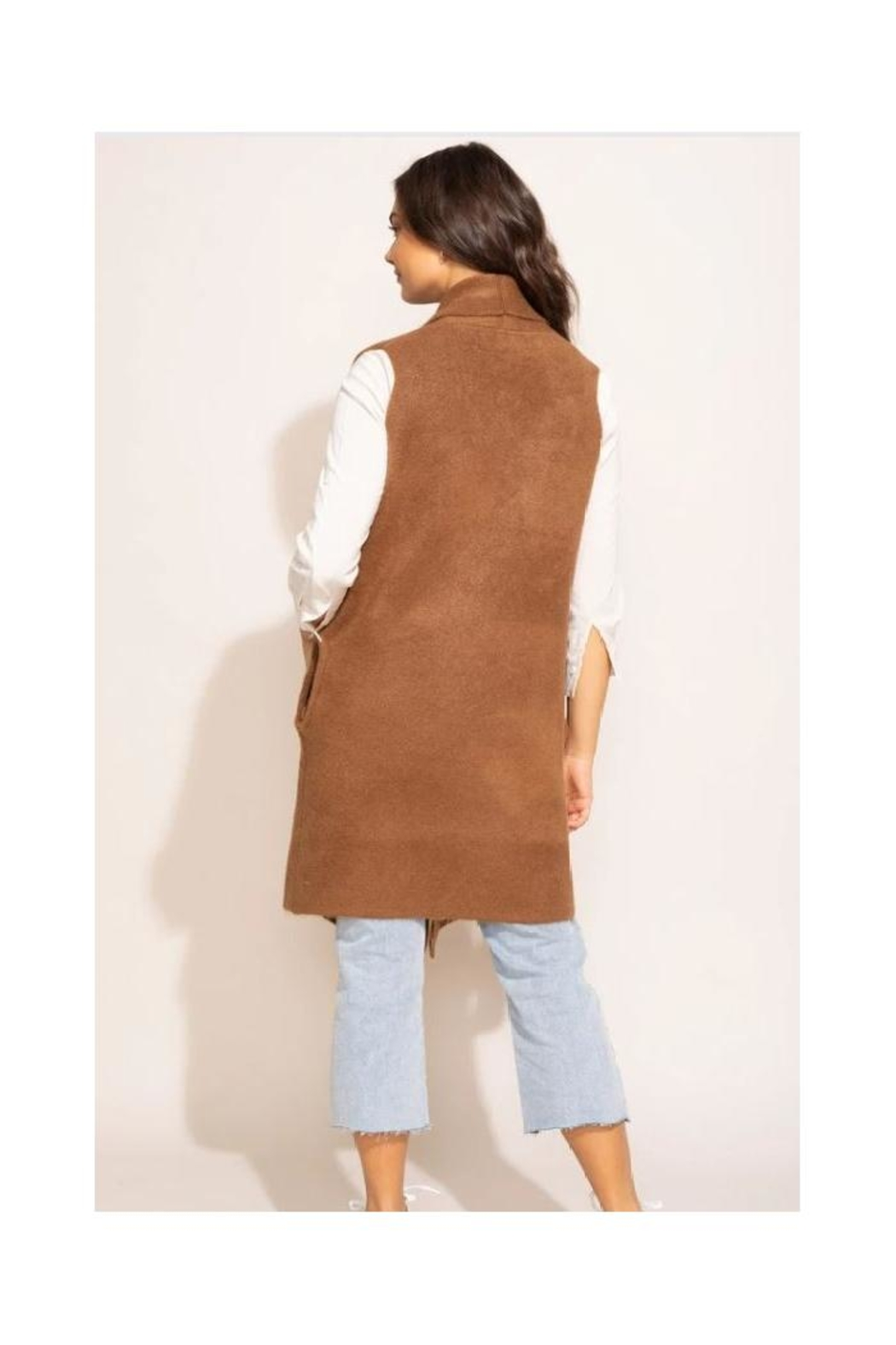 Pink Martini Stockport Vest In Brown - Side Cropped Image