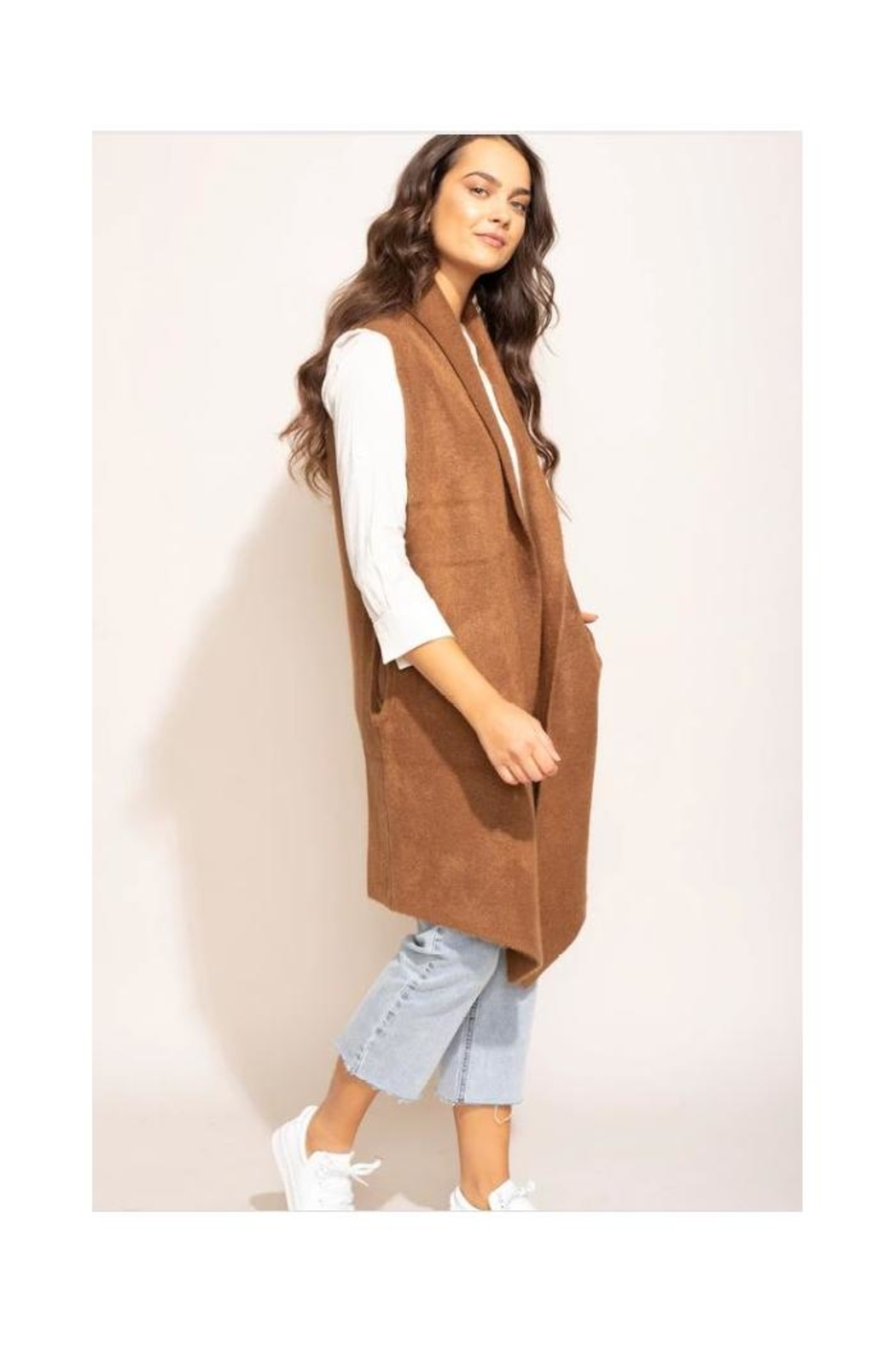Pink Martini Stockport Vest In Brown - Main Image