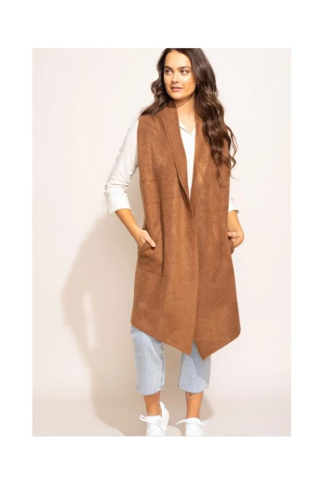 Pink Martini Stockport Vest In Brown - Front Full Image