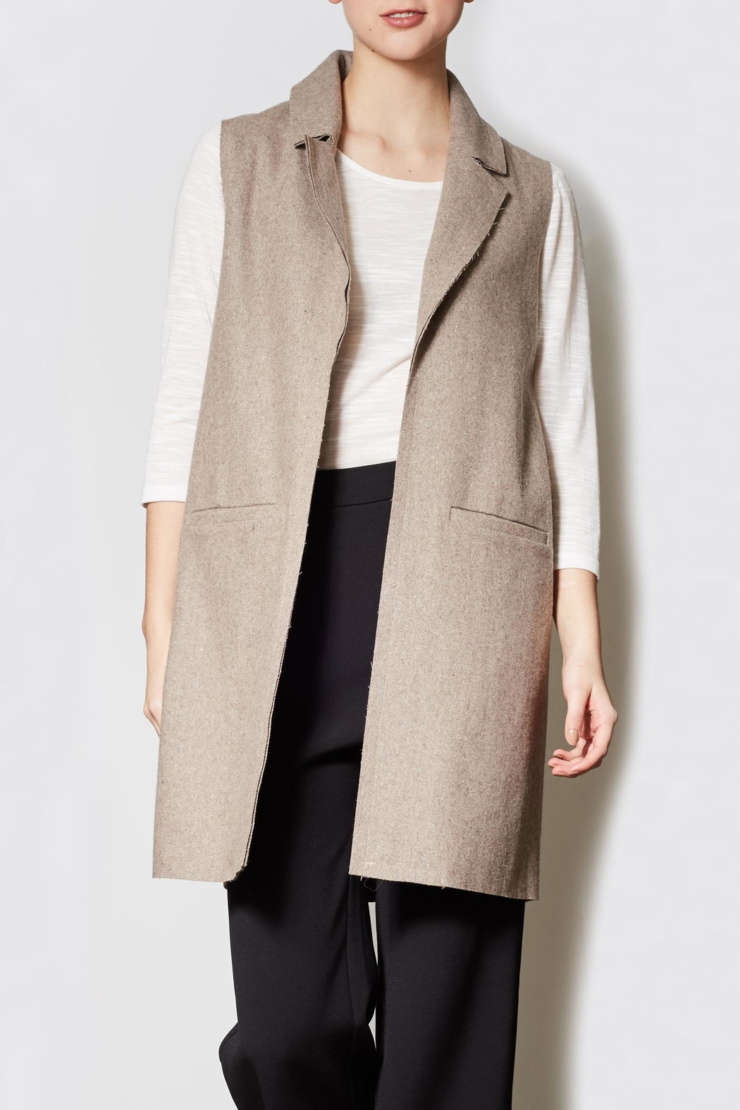 Pink Martini Collection Long Wool Vest - Main Image