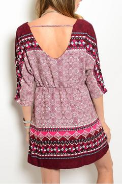 Pink Owl Apparel  Burgundy Print Dress - Alternate List Image
