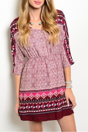 Pink Owl Apparel  Burgundy Print Dress - Product Mini Image