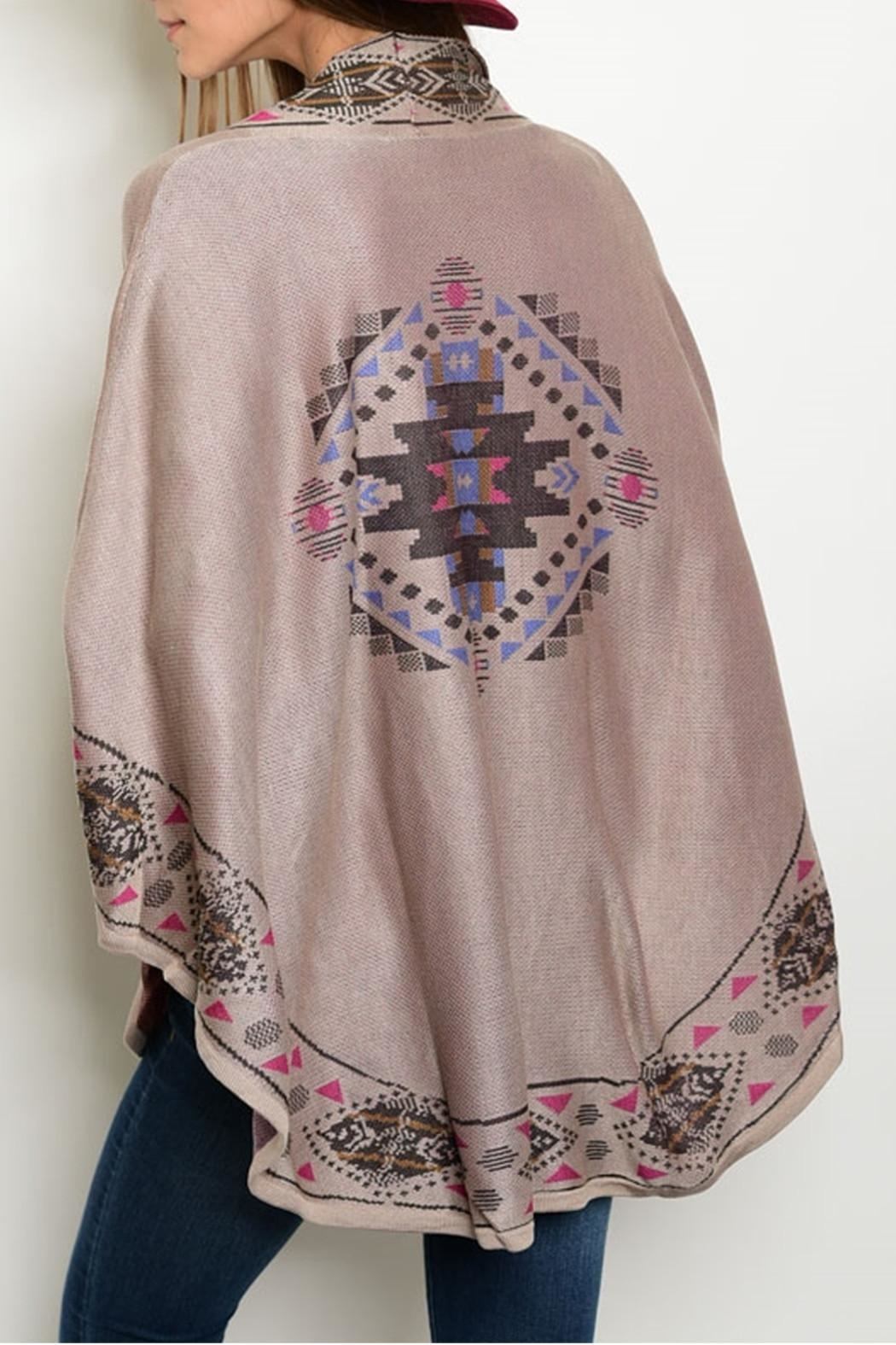 Pink Owl Apparel  Taupe Mauve Poncho - Front Full Image