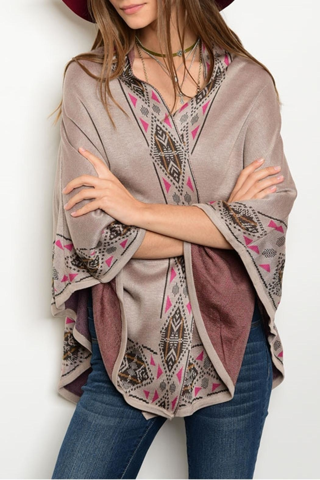 Pink Owl Apparel  Taupe Mauve Poncho - Main Image