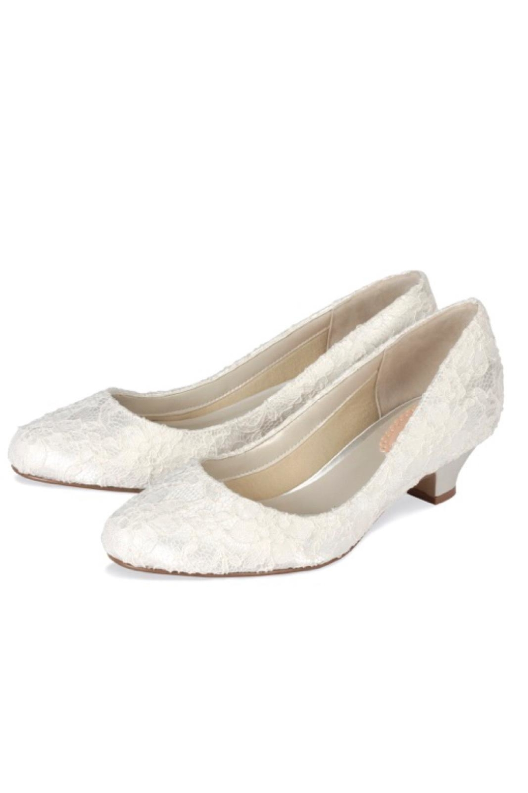 pink paradox London Bonbon Ivory Lace Shoes - Front Full Image