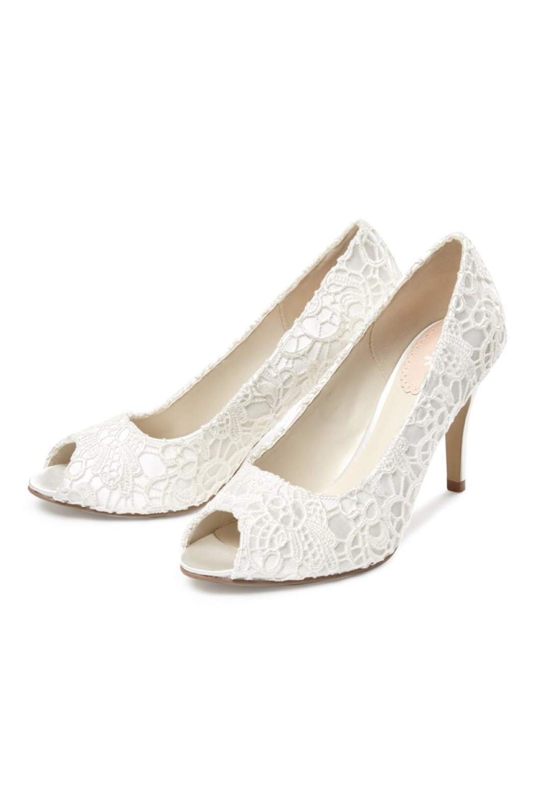pink paradox London Cosmos Ivory Lace Heels - Front Full Image