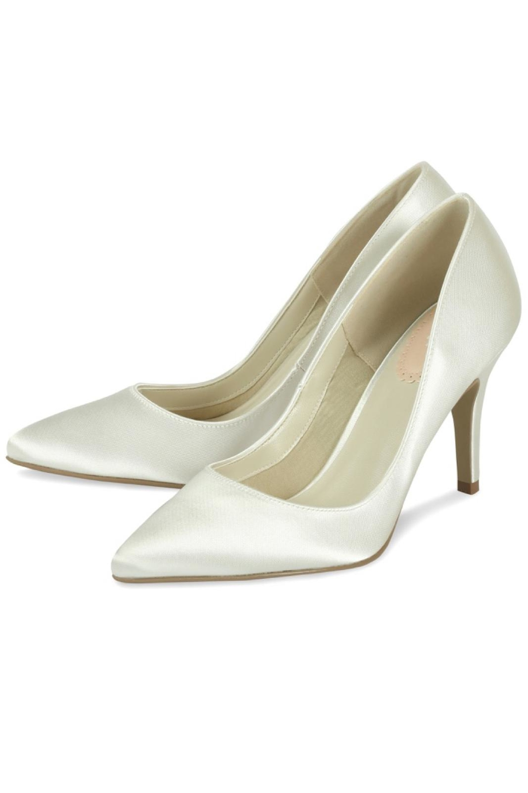 pink paradox London Flush Ivory Satin Shoes - Front Full Image