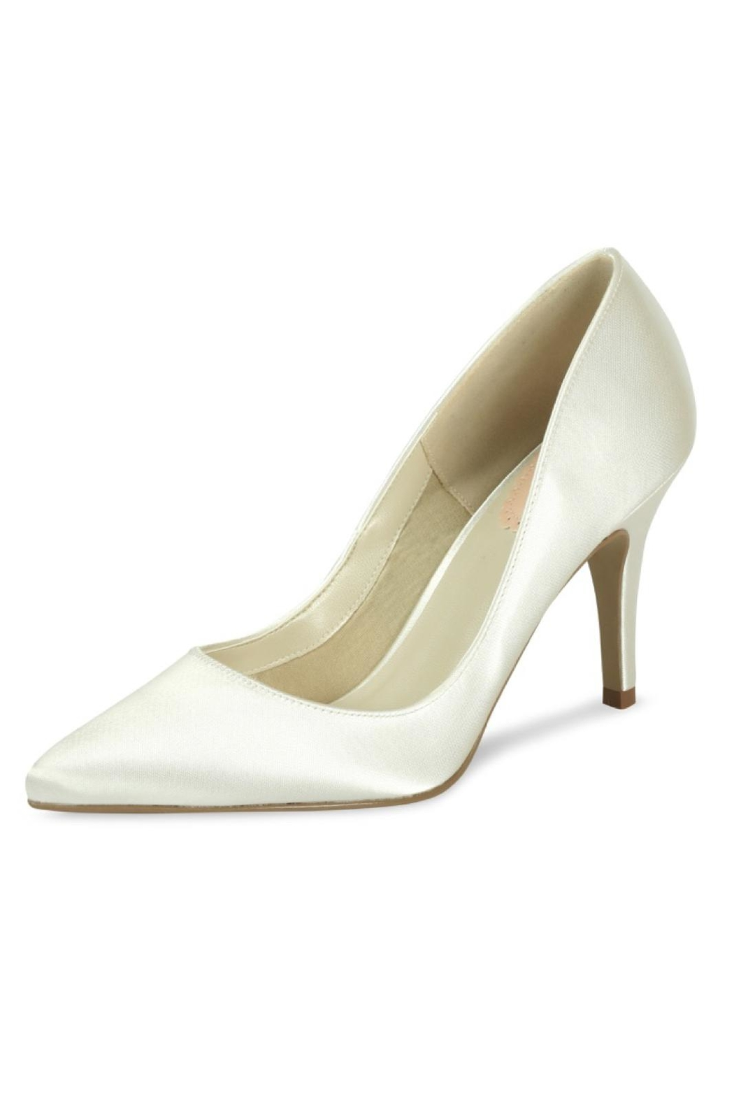 pink paradox London Flush Ivory Satin Shoes - Front Cropped Image