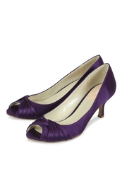 pink paradox London Romantic Purple Satin Heel - Front full body