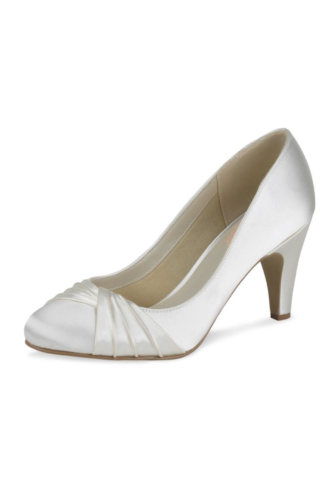 pink paradox London Ruffle Ivory Satin Heel - Front Cropped Image