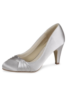 Shoptiques Product: Ruffle Silver Satin Heel