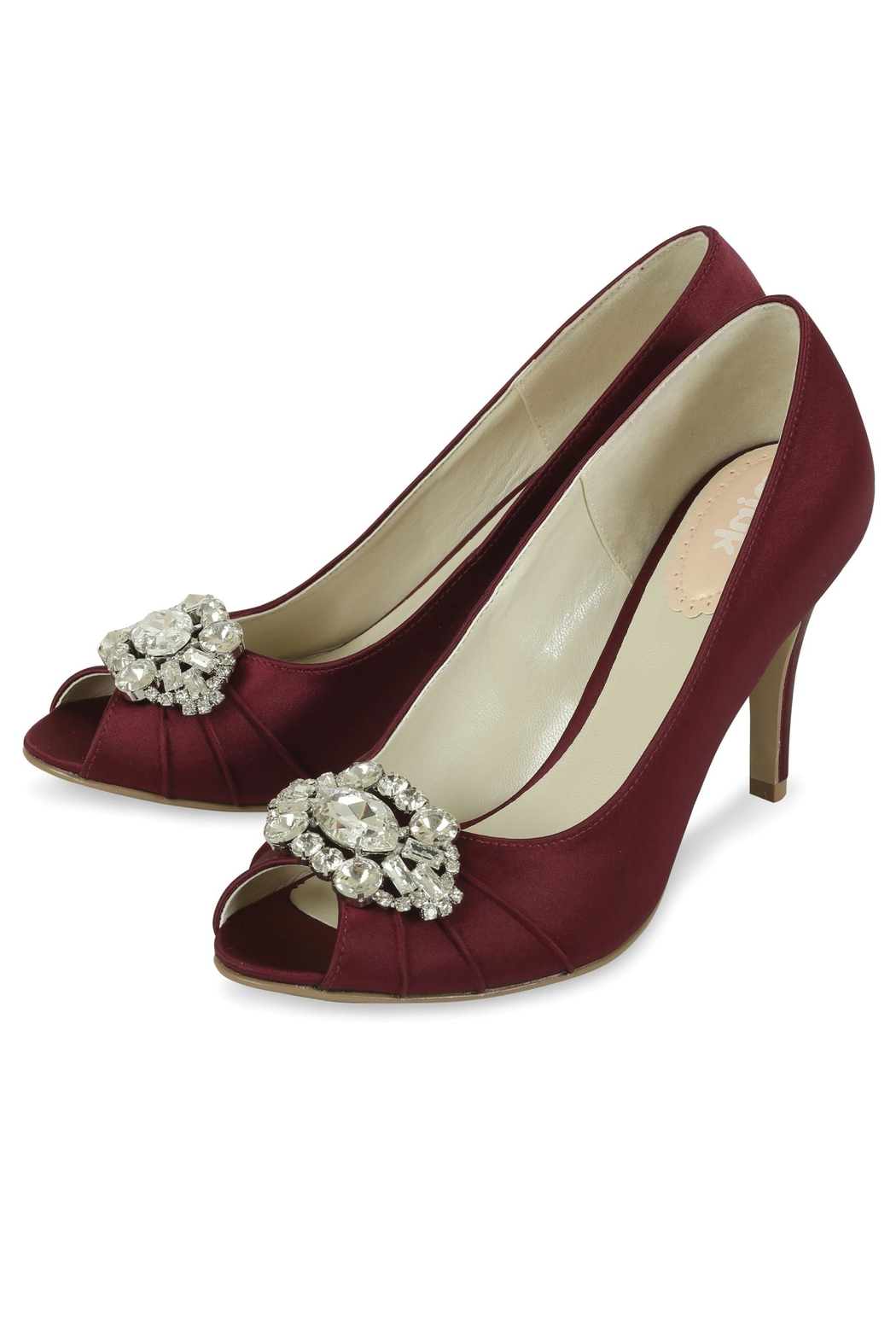 pink paradox London Tender Claret Satin Shoes - Front Full Image
