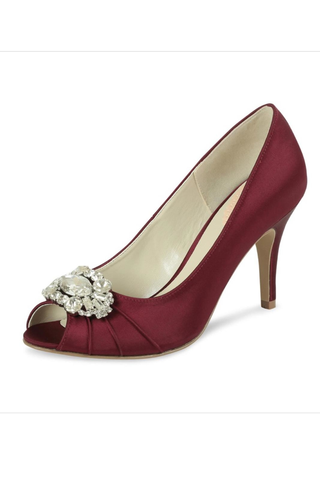 pink paradox London Tender Claret Satin Shoes - Front Cropped Image