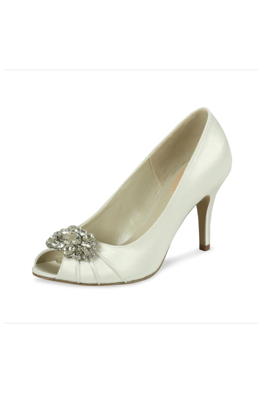 pink paradox London Tender Ivory Satin Shoes - Front Cropped Image