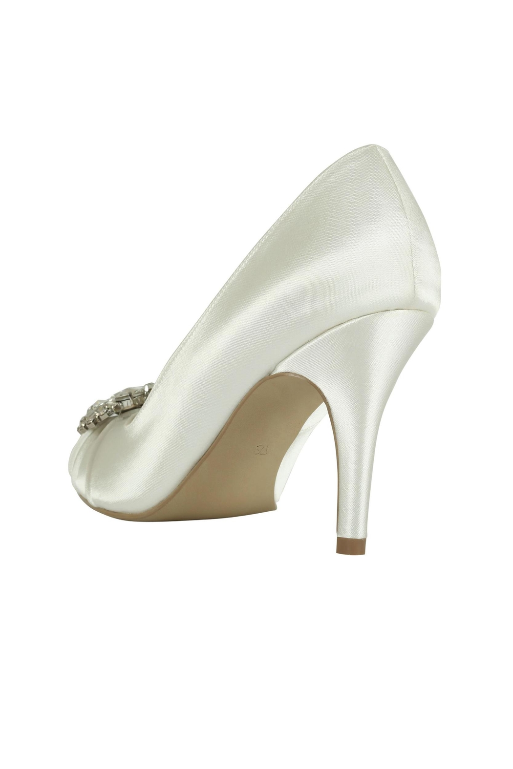 pink paradox London Tender Ivory Satin Shoes - Side Cropped Image