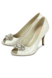 pink paradox London Tender Ivory Satin Shoes - Front full body