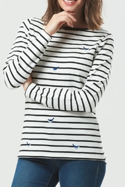 Pink Poodle Boutique Bird Stripe Top - Front full body