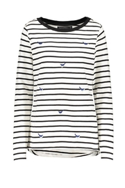 Pink Poodle Boutique Bird Stripe Top - Front cropped
