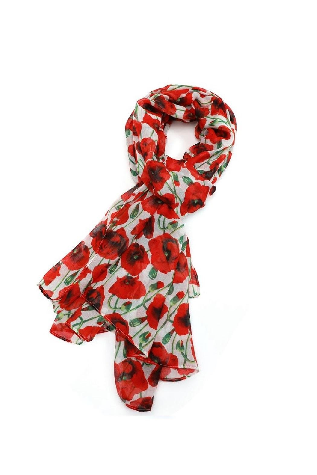 Pink Poodle Boutique Poppy Print Scarf - Front Cropped Image