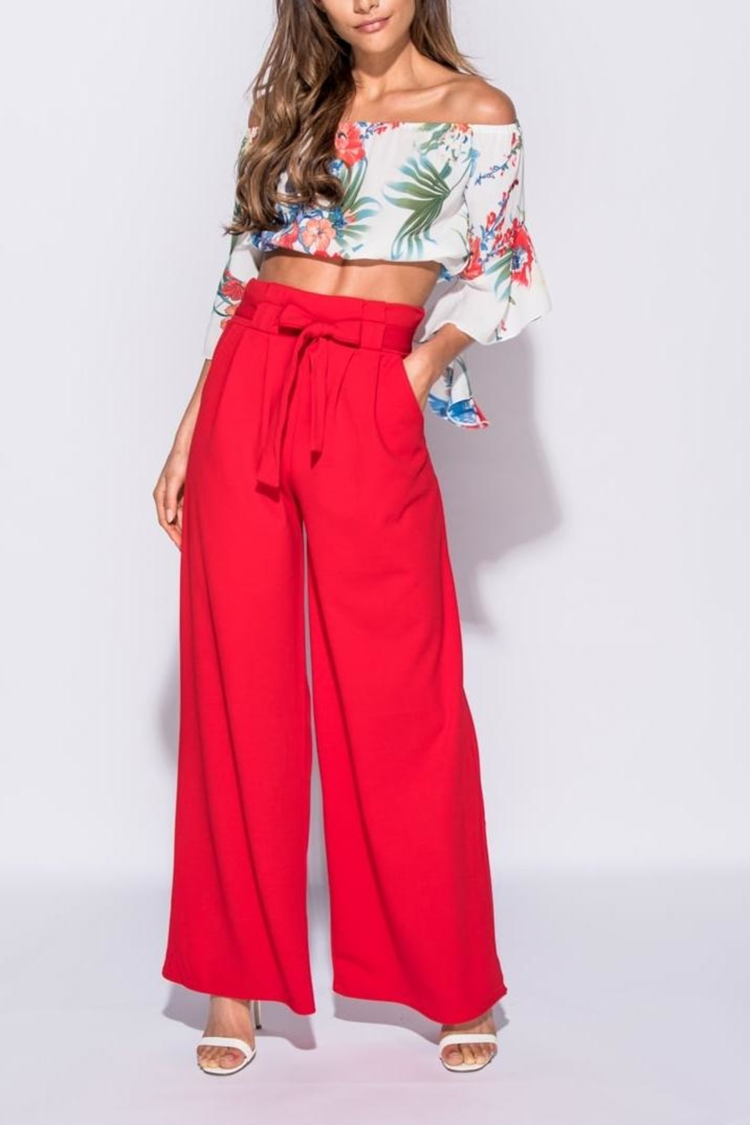 Pink Poodle Boutique Wide Leg Trousers - Front Full Image