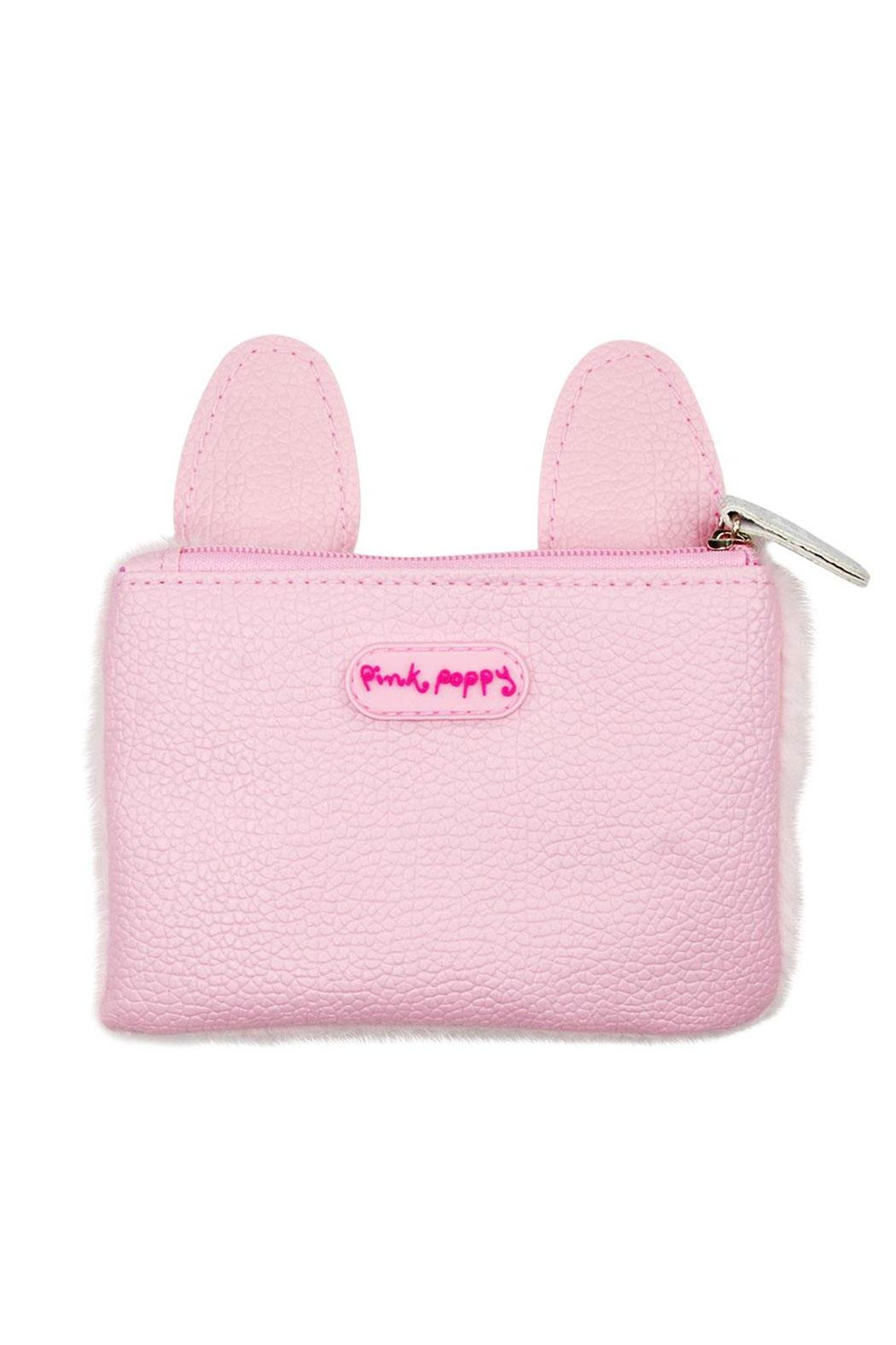 Pink Poppy Bunny Fuzzy Coinpurse - Front Full Image