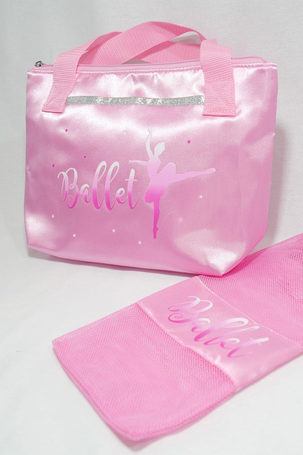 Pink Poppy Satin Ballet Tote - Front Full Image