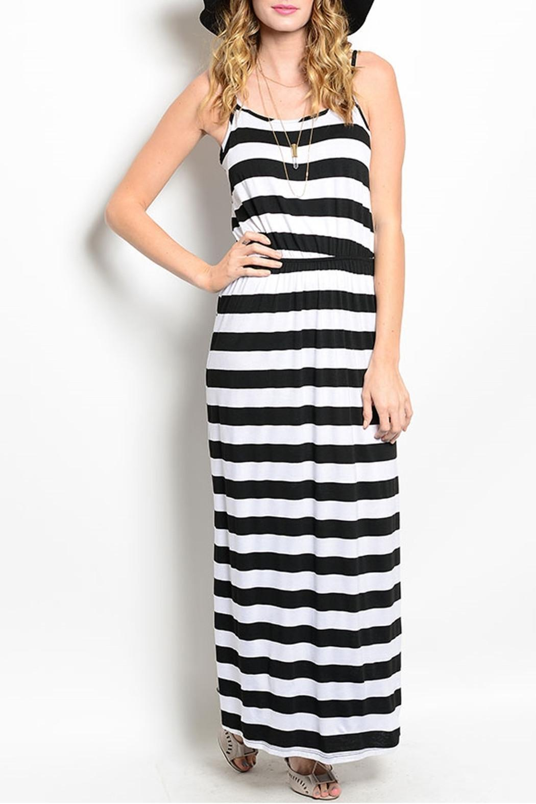 pink rose Stripped Maxi Dress - Front Cropped Image