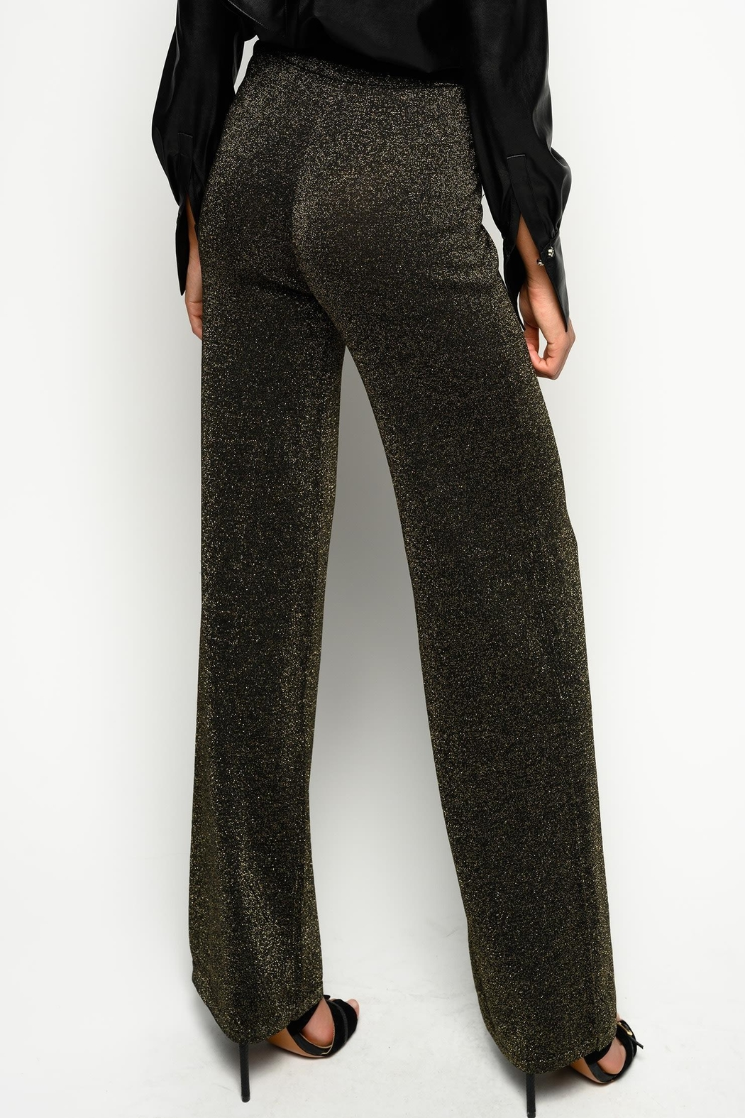 Pinko Canada Lurex Knit Trousers Gold - Side Cropped Image