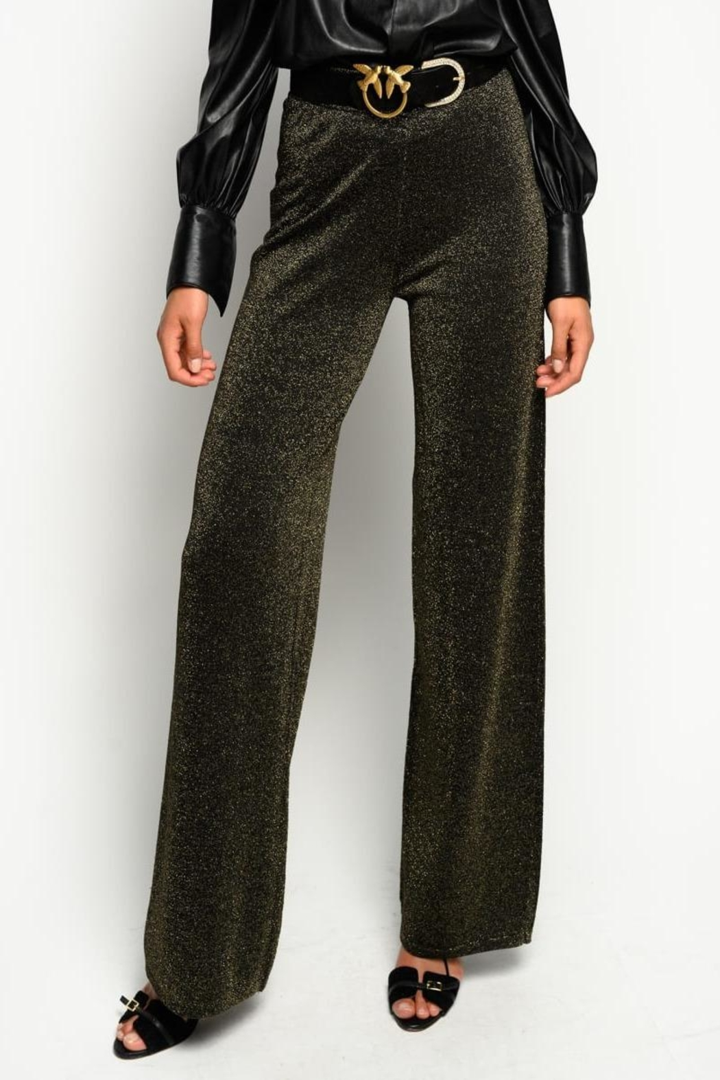 Pinko Canada Lurex Knit Trousers Gold - Front Full Image