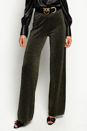 Pinko Canada Lurex Knit Trousers Gold - Front full body