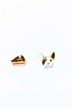 Shoptiques Product: Bulldog & Cake Earrings