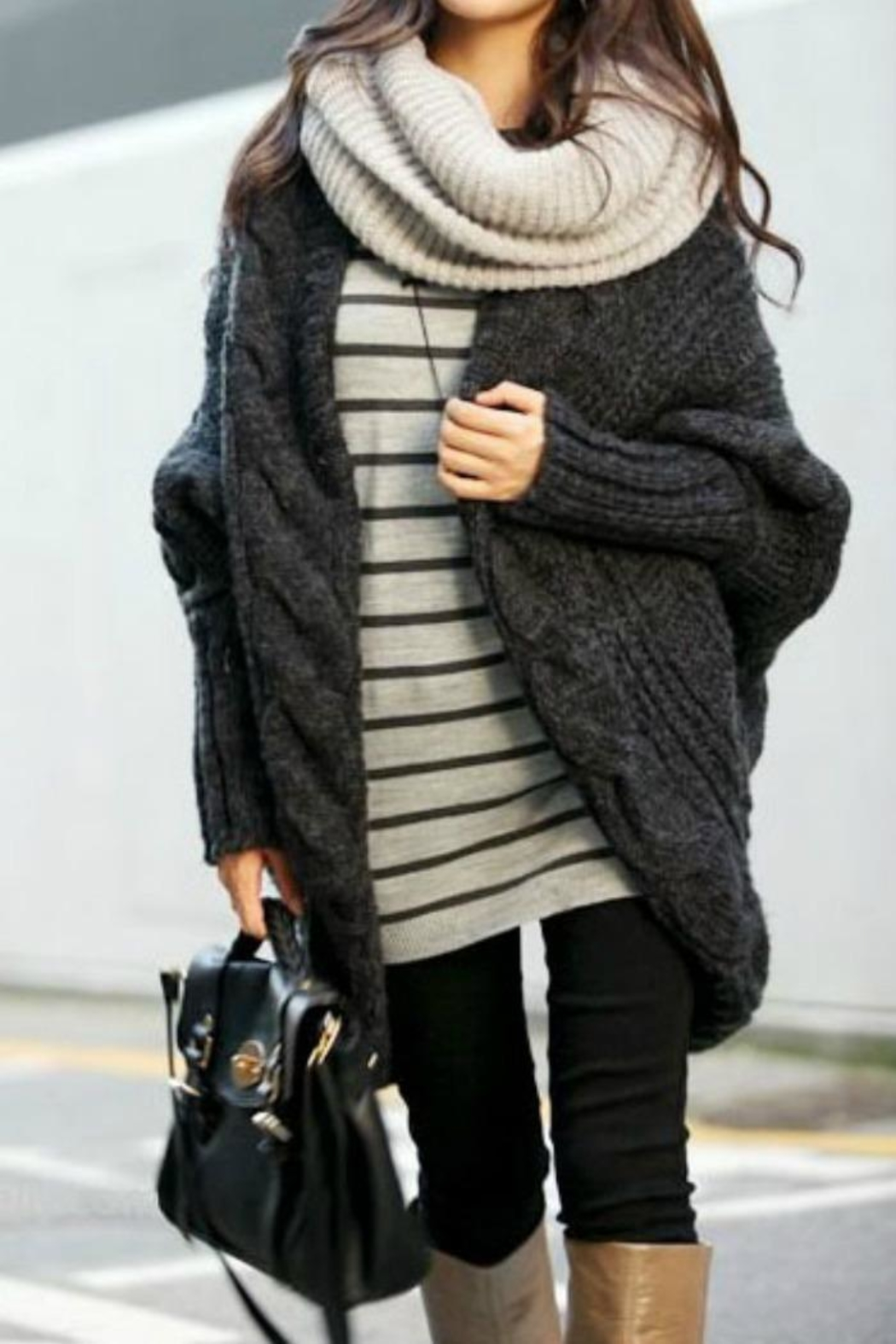 PinkUSA Charcoal Sweater Cardigan - Front Cropped Image