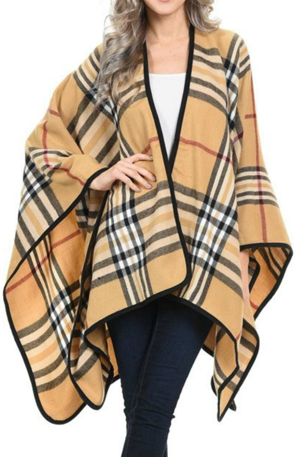 PinkUSA Plaid Cape - Front Cropped Image