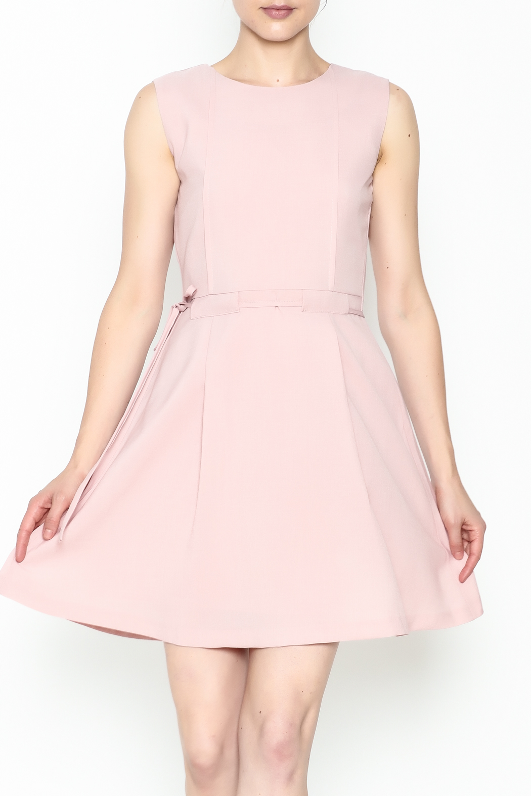Pinkyotto Waisted Flare Dress - Front Cropped Image