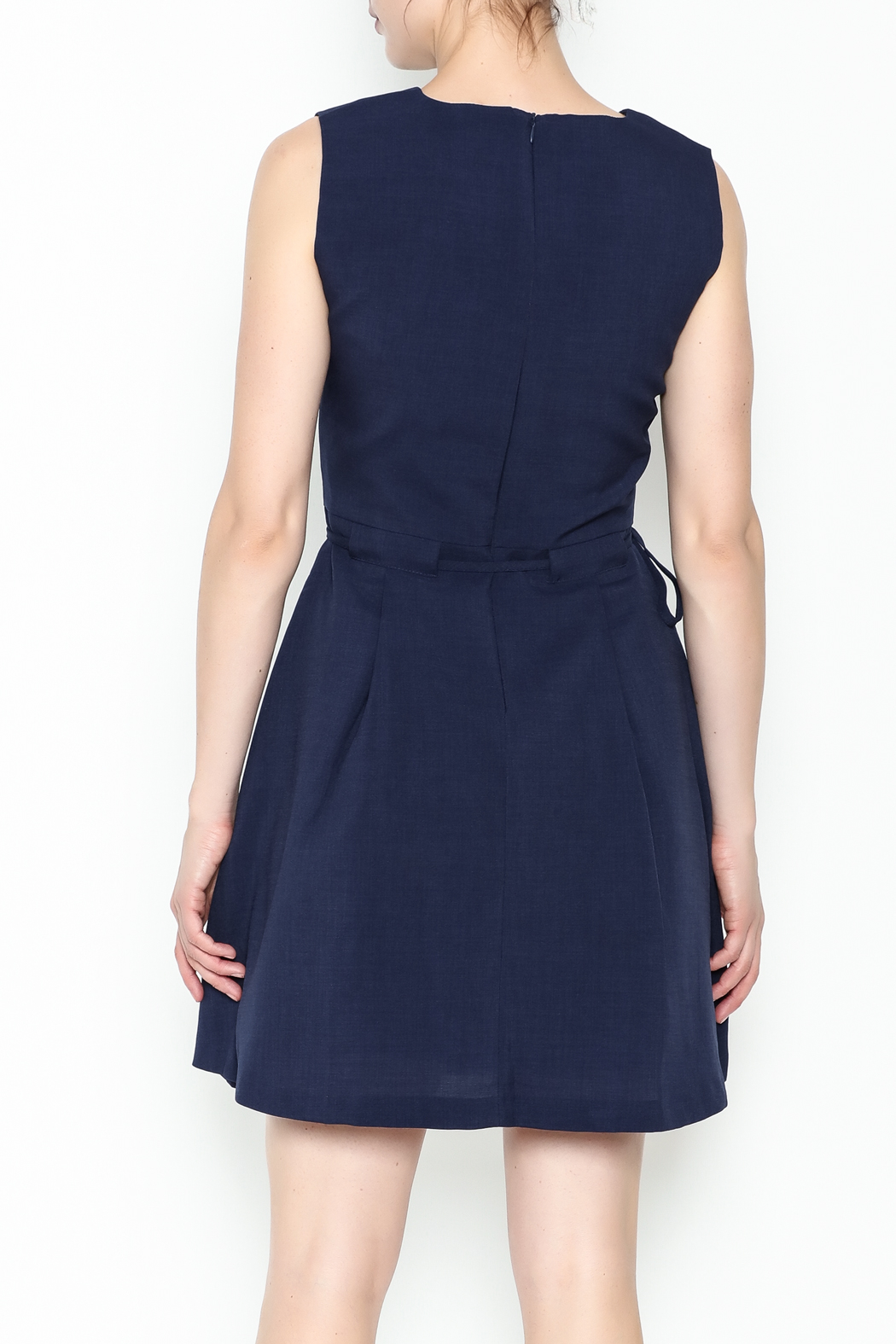 Pinkyotto Waisted Flare Dress - Back Cropped Image